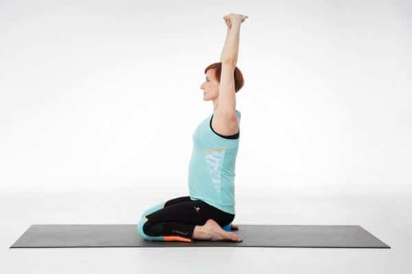 yoga femme enceinte Parvatasana à Virasana